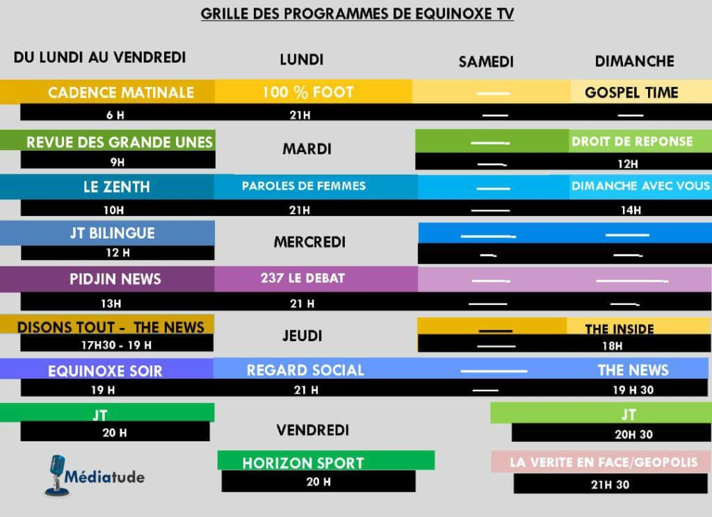 Grille des programmes de equinoxe TV